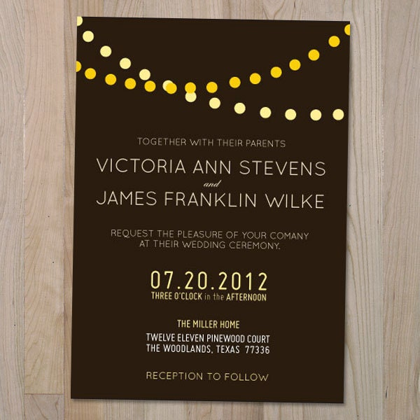 Light String Printable Wedding Invitation From youngwanderlust