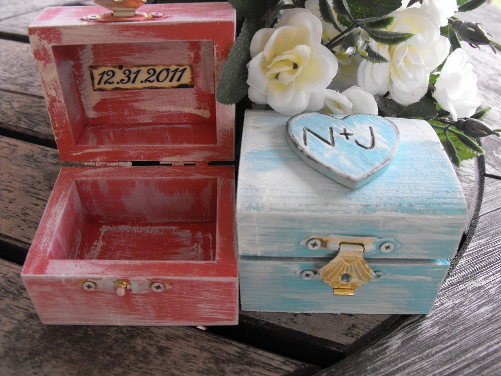 Personalized Wedding Ring Box You Pick Your Colors Romantic Antique Vintage