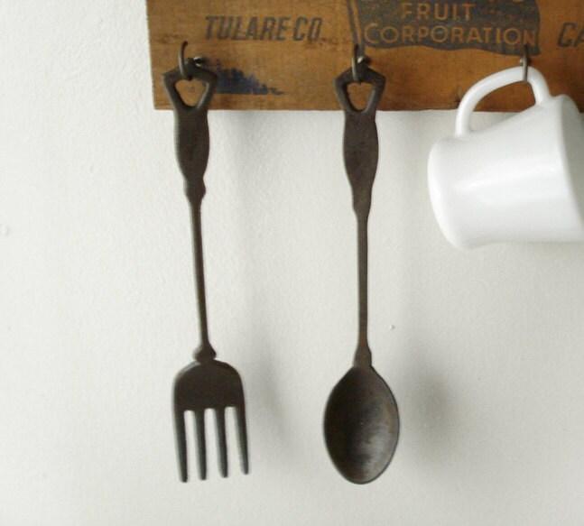 Extra Large Hanging Aluminium Knife, Fork.