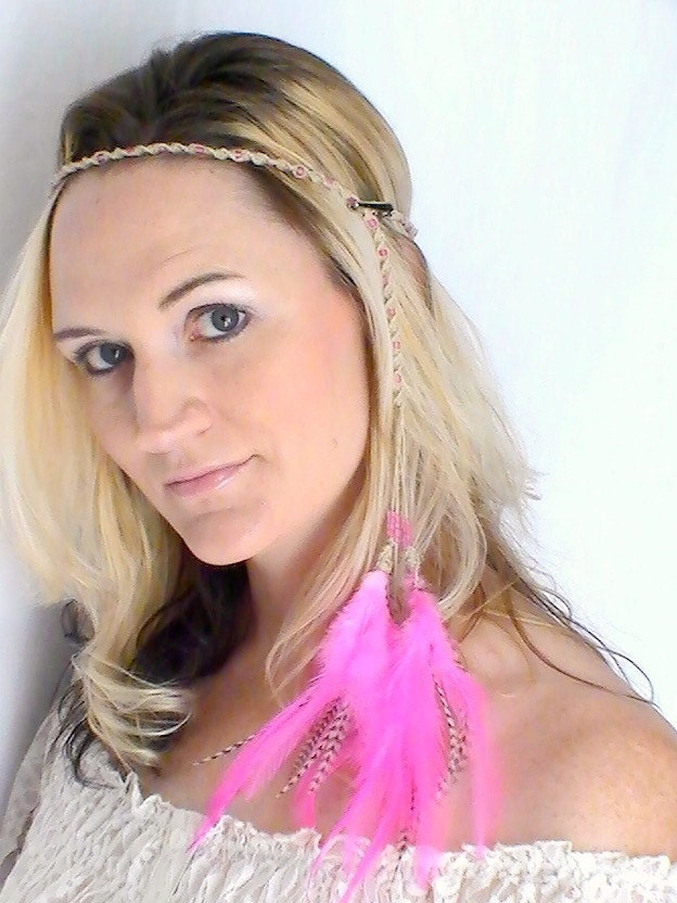 Hippie Headband with Feather Extensions Pink Grizzly Braided Hemp