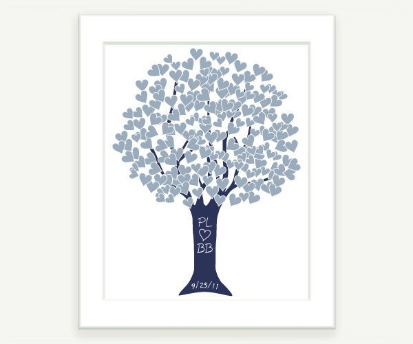 Anniversary Gift Silver Blue Wedding Love Heart Tree Art Print 8x10 by