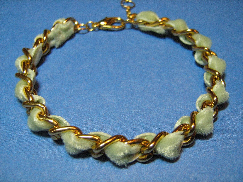 Sage Green Velveteen Ribbon & Chain Bracelet