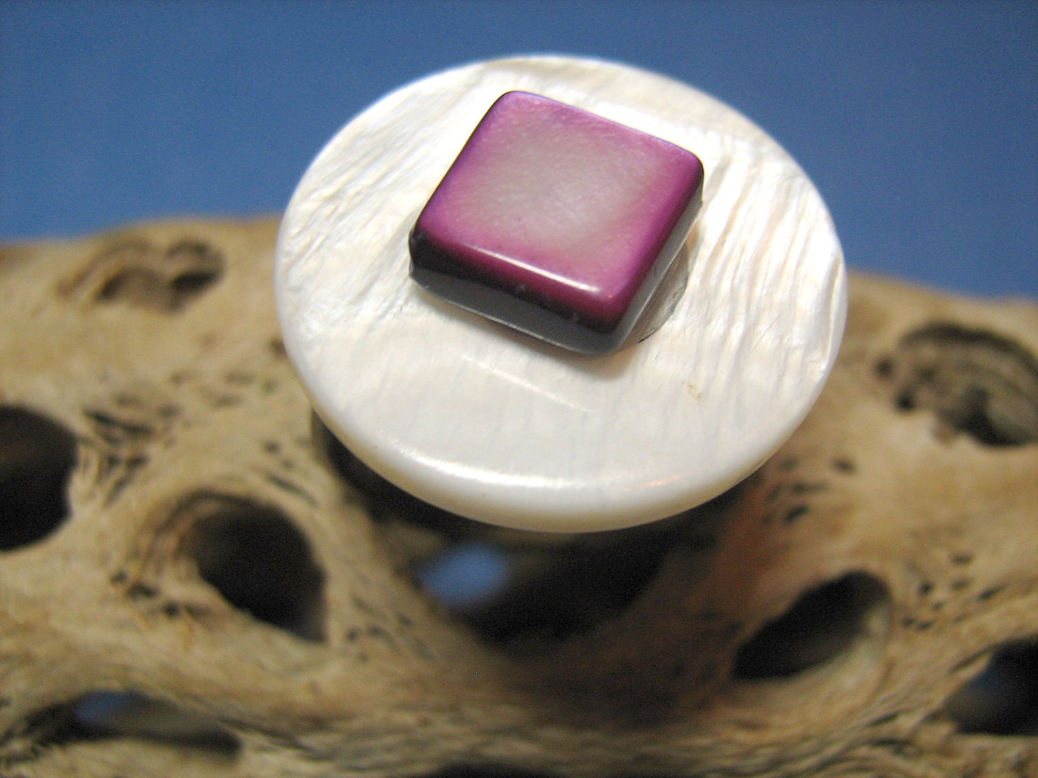 White and Purple River Shell Beads Ring