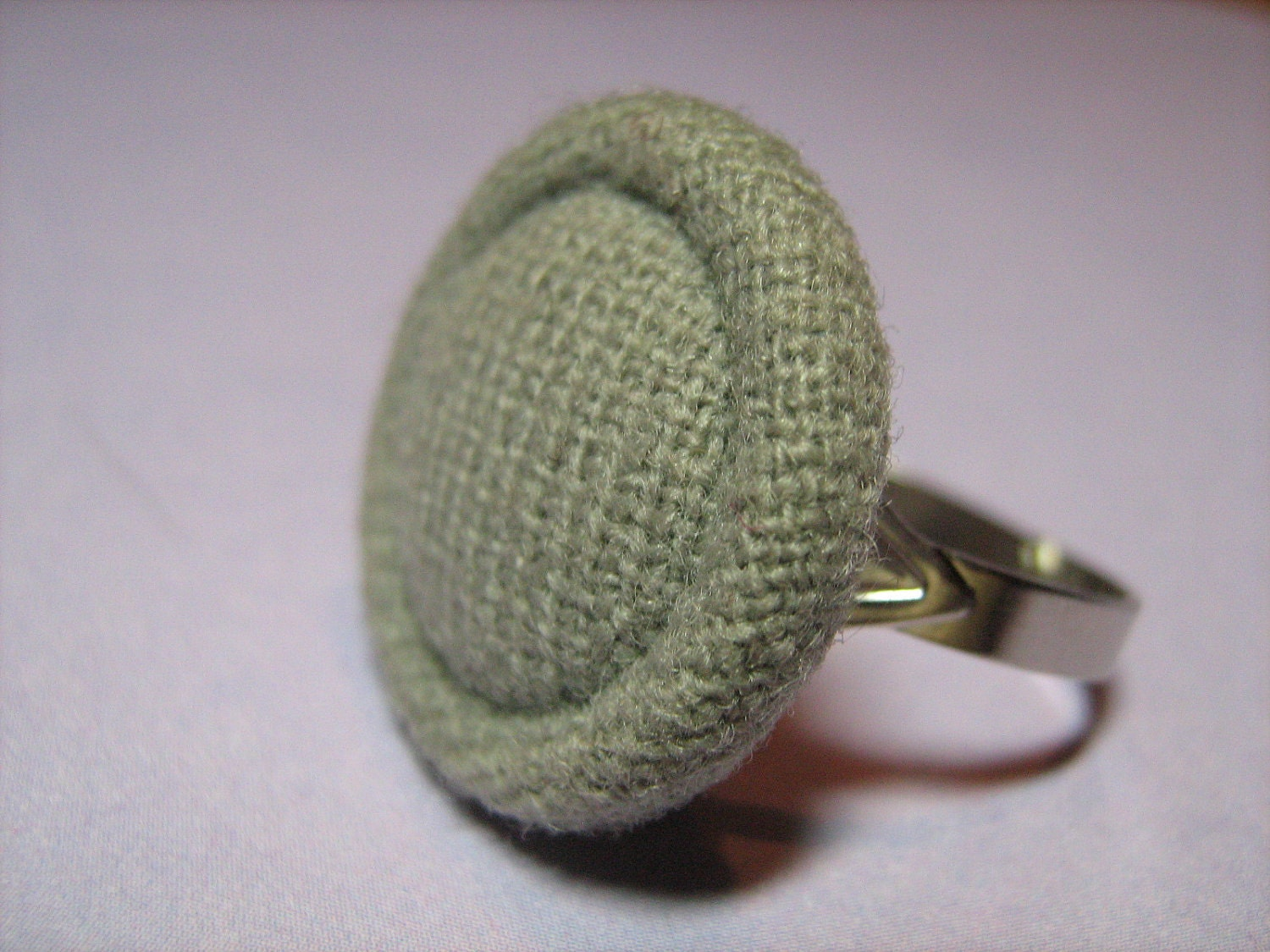 Vintage Light Gray Fabric Covered Button Ring