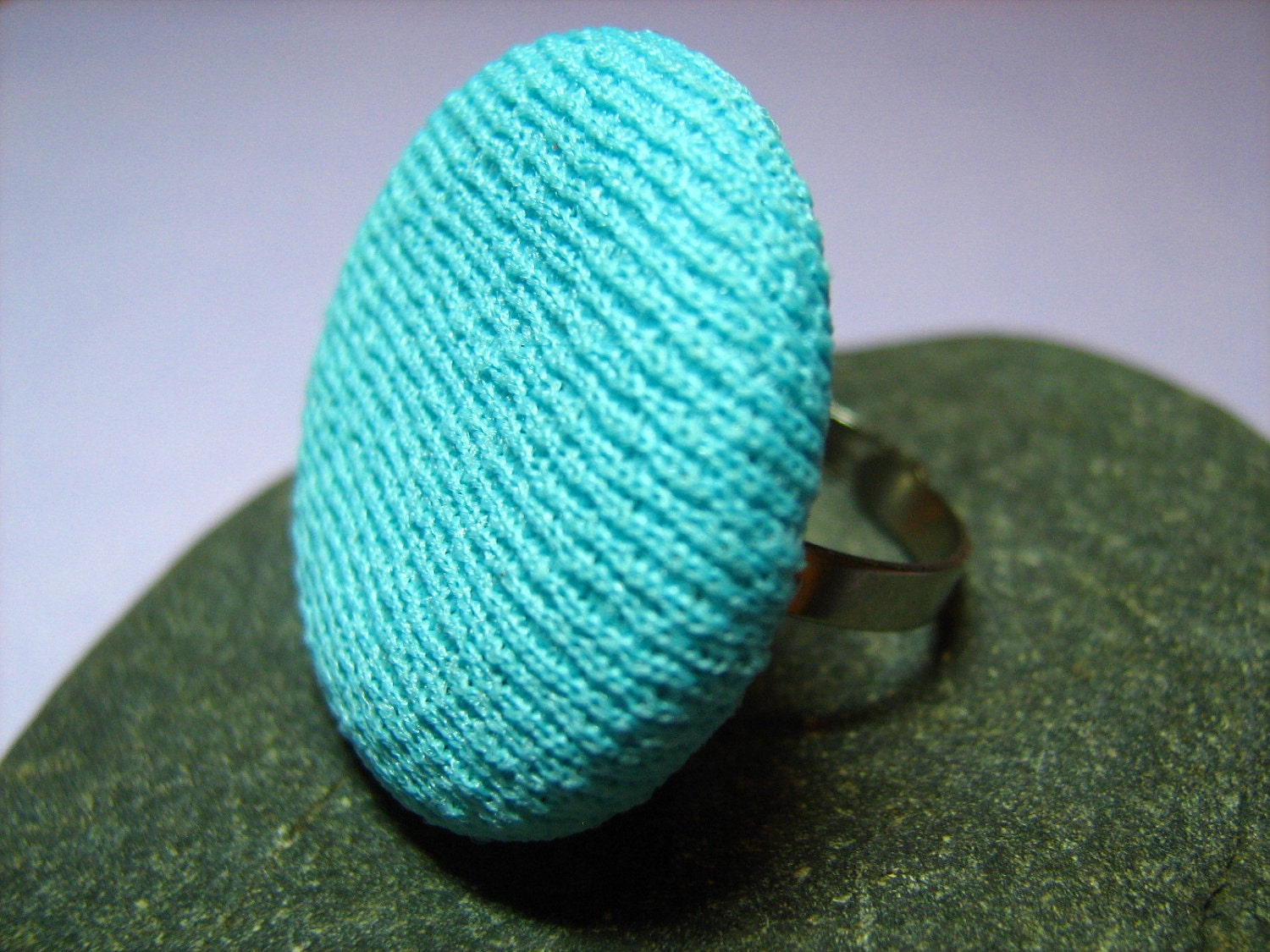 Large Vintage Turquoise Fabric Covered Button Ring