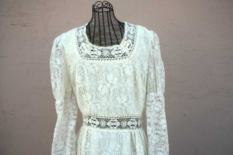 70s 1970s cream lace maxi dress or bridal wedding gown Bohemian hippie