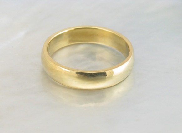 basic low dome wedding band for men or women 4mm wide in 21k gold