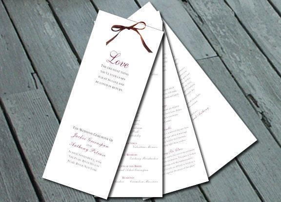 Sophisticated Elegant WEDDING PROGRAM Digital printable file