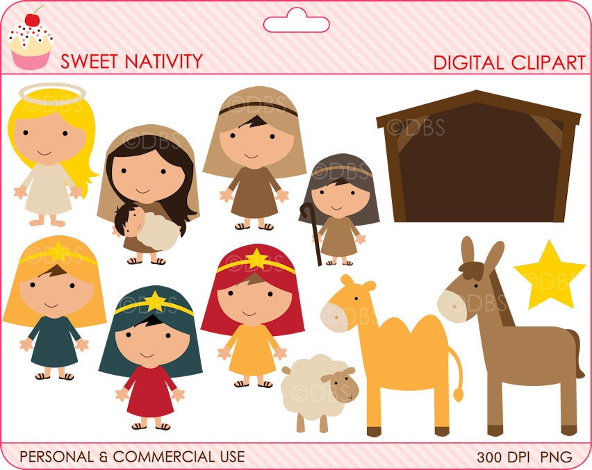 Free Clipart Black And White Nativity