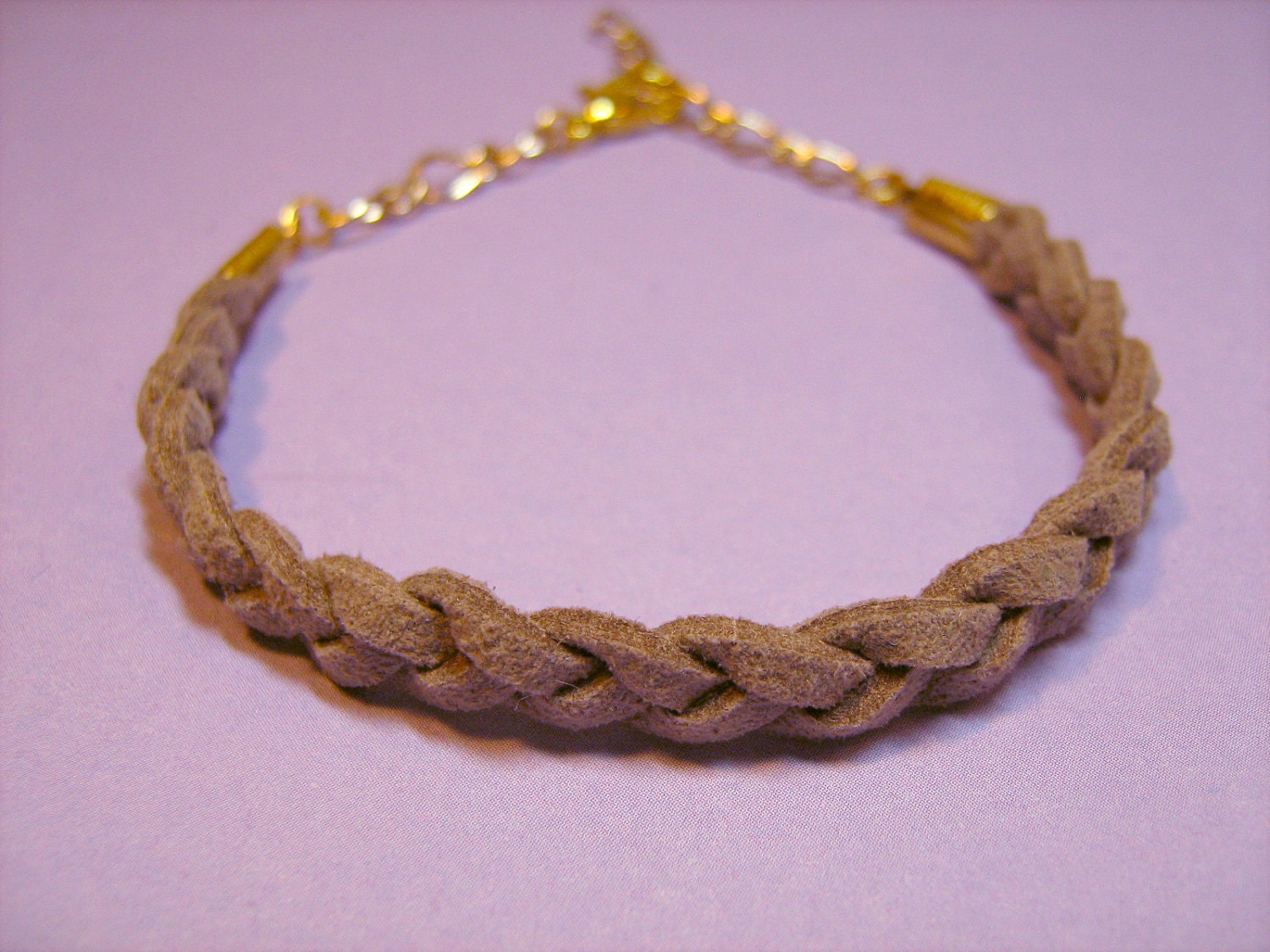 Bracelet: Tan Braided Suede Cord, Goldtone Findings, for Men or Women