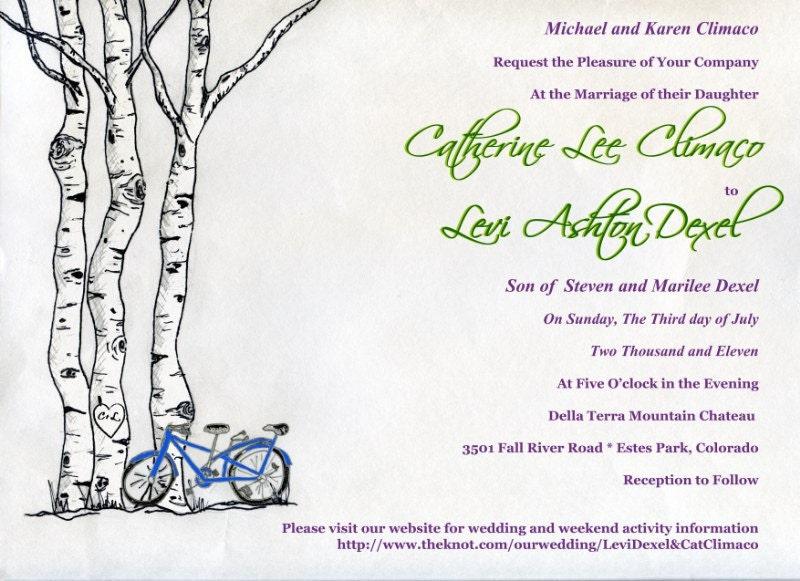 Wedding Invitation Mad Lib Wedding Program Save the Date Tree Bicycle