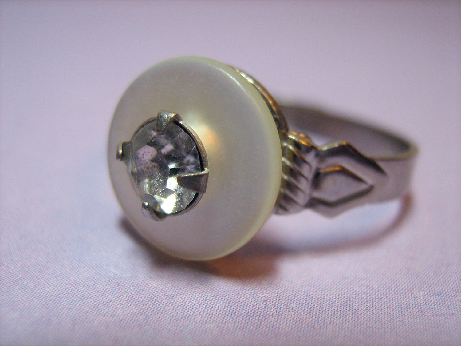Ring: Iridescent White Vintage Button with Rhinestone on an Adjustable Silvertone Metal Ring - Hypo-Allergenic, Nickel Free for Women