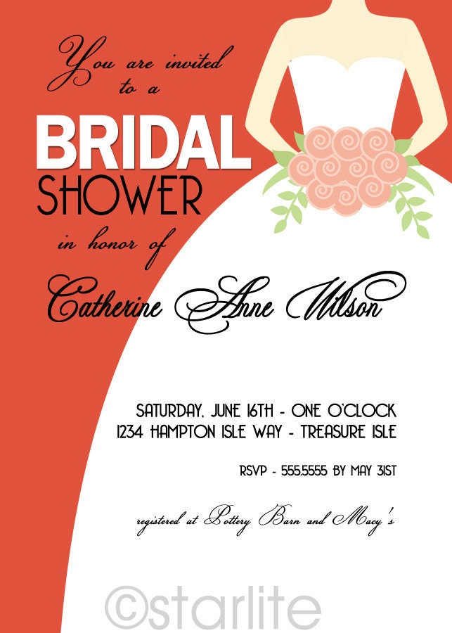 Bridal Shower wedding gown invitation Chic Bride Tangerine Tango bridal