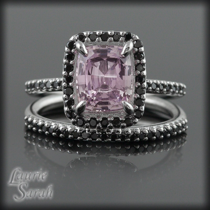 Pink Sapphire with Black Diamond Wedding Ring Set LS1938