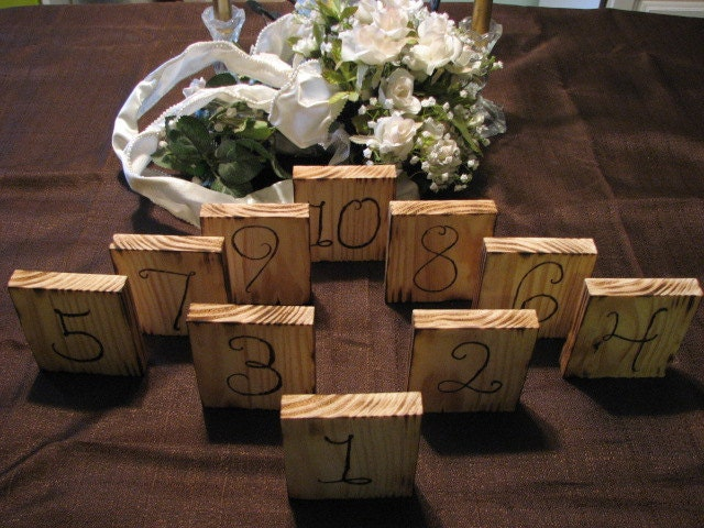 Wedding Reception Rustic Table Numbers shabby chic Set Of 10 Rustic Wedding
