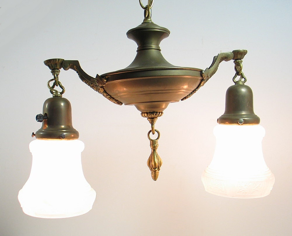 Antique Art Deco Brass Ceiling Light Hanging Lamp Fixture ...