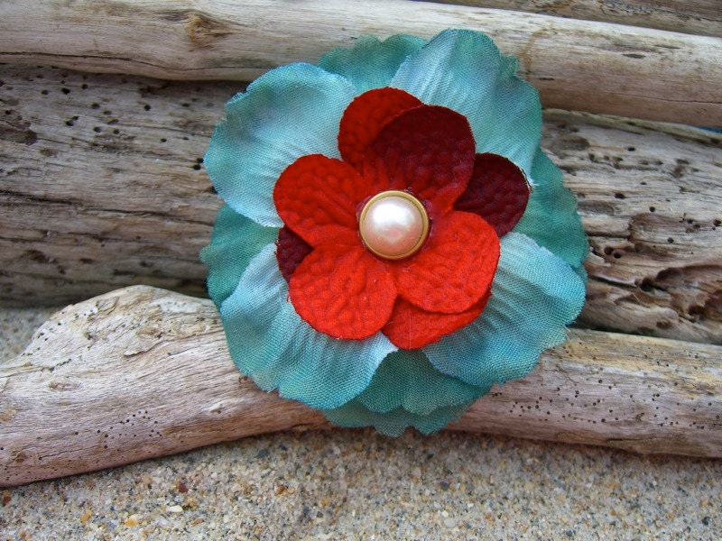 Flower Hair ClipTurquoise and RedTrending Wedding Color Combination