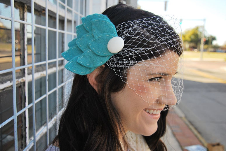 Light Teal Felt Feather Wedding Hairpiece with Birdcage Veil