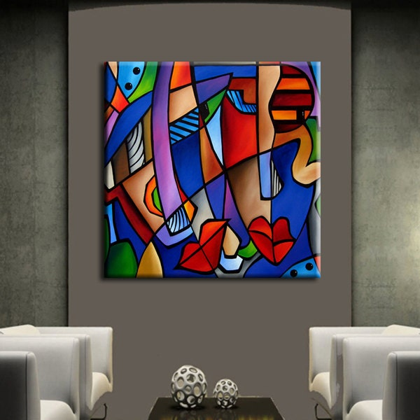 Seeing Sounds   Original Large Abstract Modern Art CUBIST Painting by