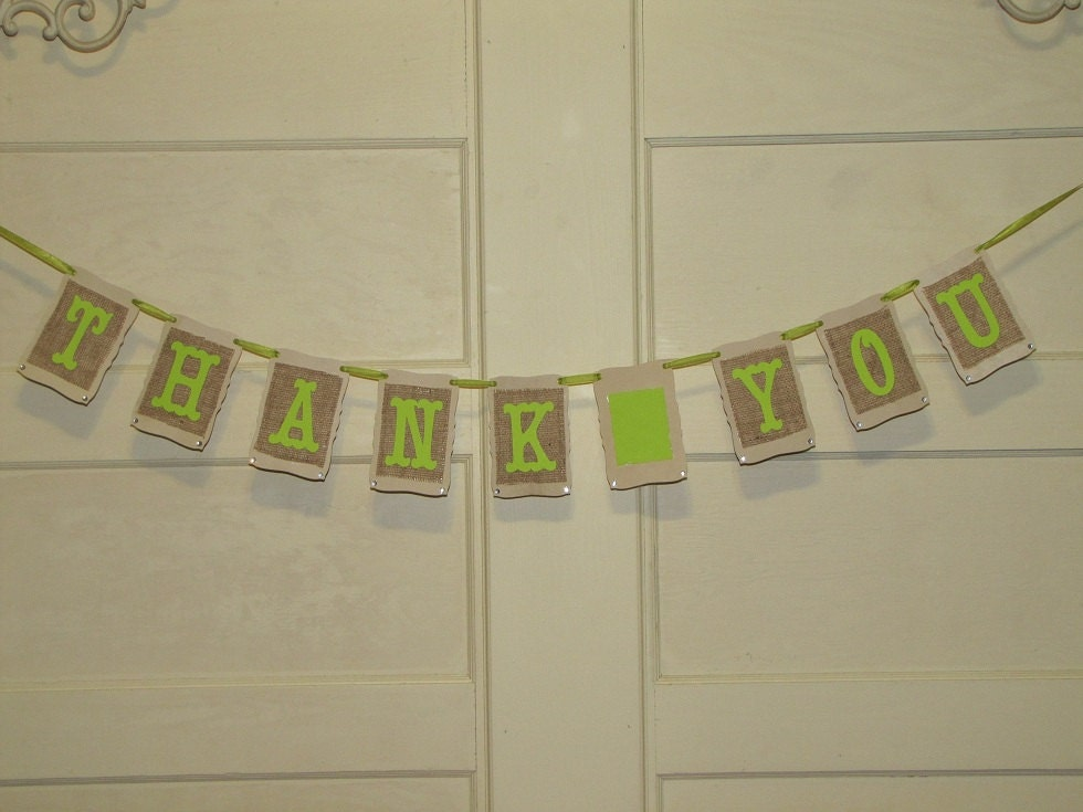 Thank You Banner Bunting Burlap Lime Green Wedding Photo Props Garland