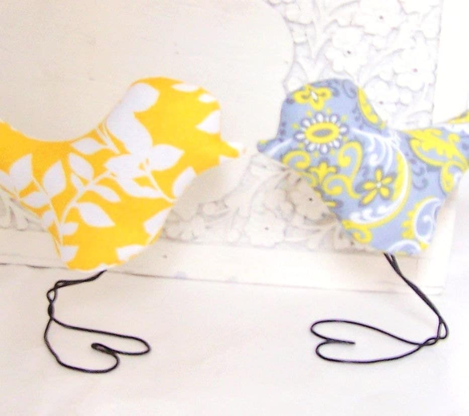 Wedding Cake Topper Love Birds in Modern Lemon Yellow Leaf and Grey Swirls