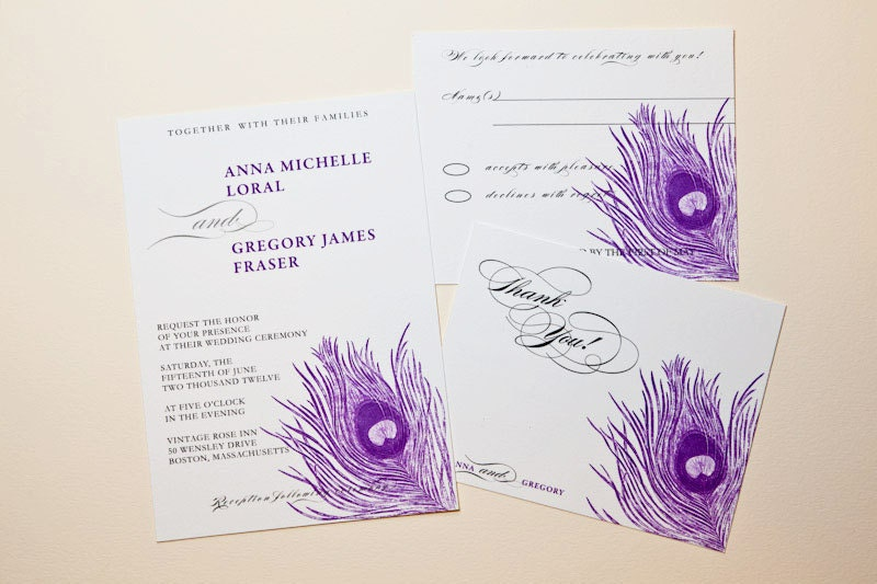 Printable Wedding Invitation Purple Peacock Feather Invitation