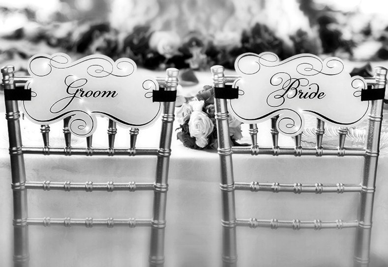 Chair Signs Bride and Groom Wedding Reception Decoration