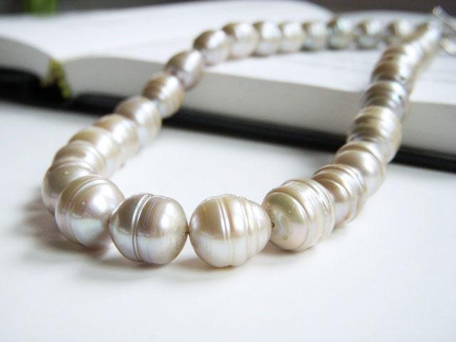 Platinum Blush Freshwater Pearl Necklace Wedding Jewelry Almond Joy
