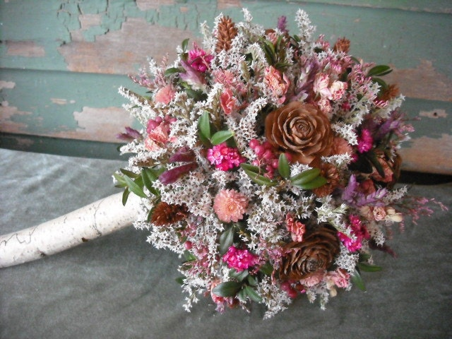 Dried flower Bridal bouquet with Birch handle in pink and brown