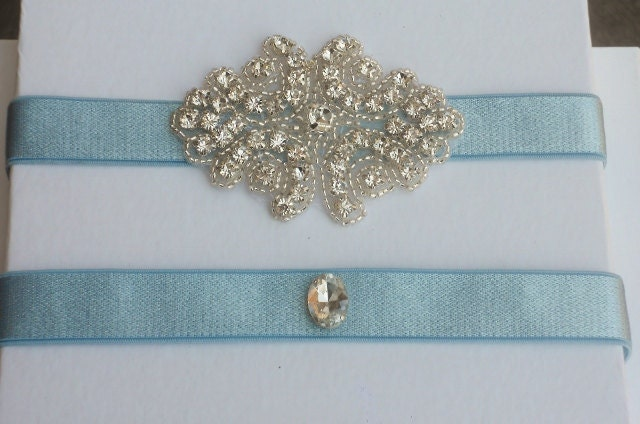 Blue Wedding Garter Set with Rhinestone Design Light blue keepsake and
