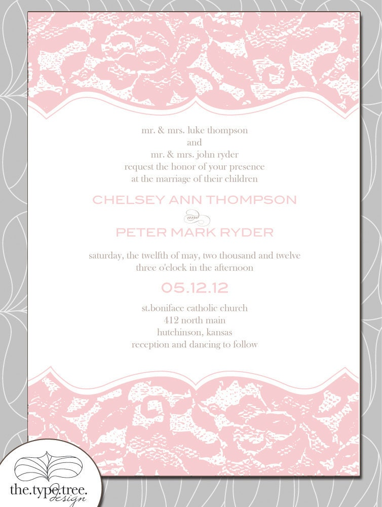 Classic Lace Wedding Invitation Set Customizable DIY invite