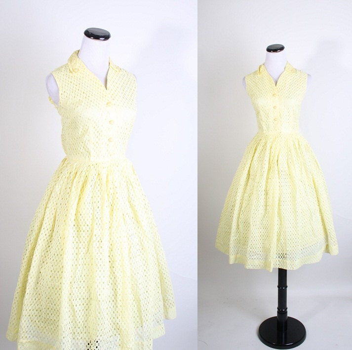Yellow Eyelet Lace Mad Men Dress Wedding Dress Informal Prom Vintage