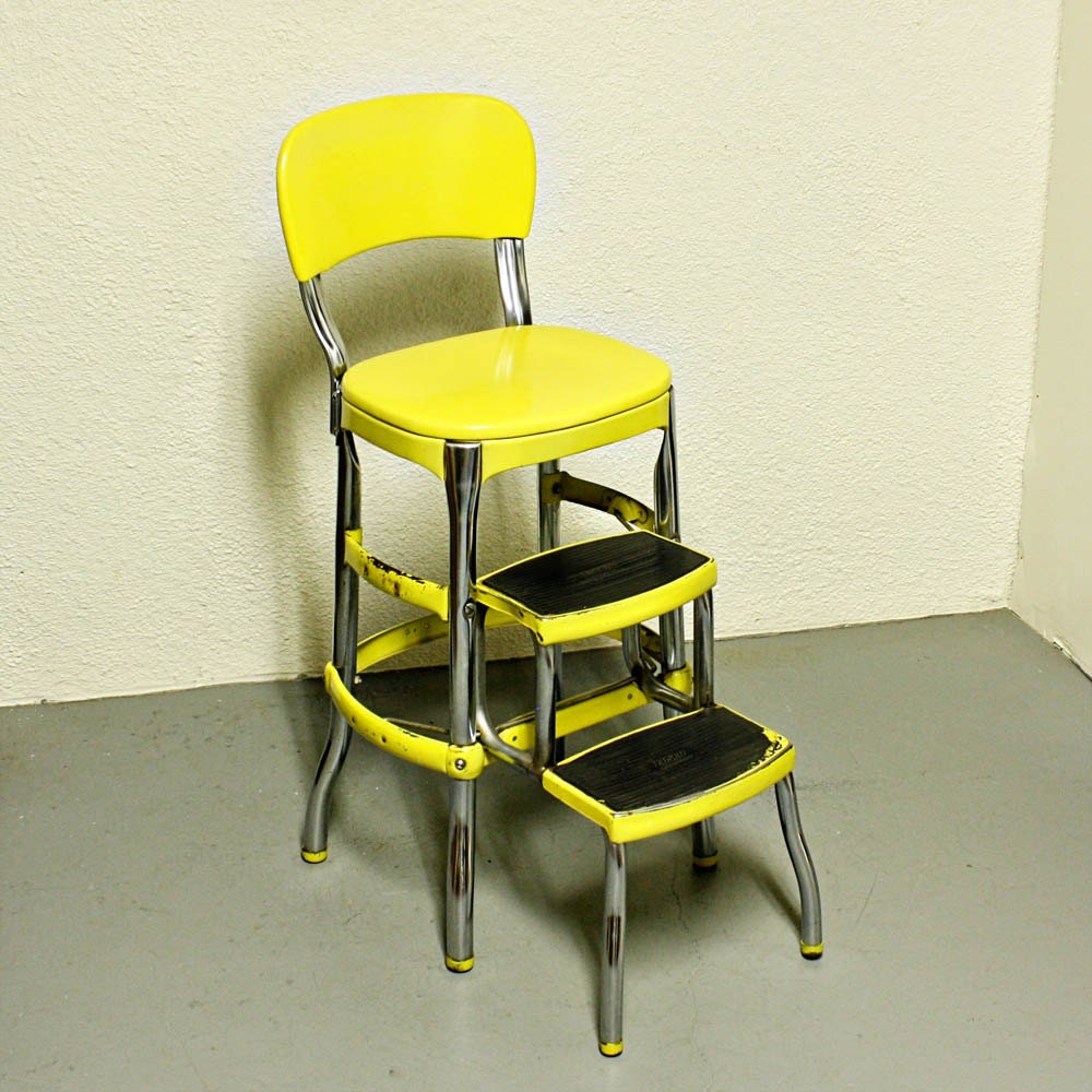 cosco retro counter chair/step stool sliding red