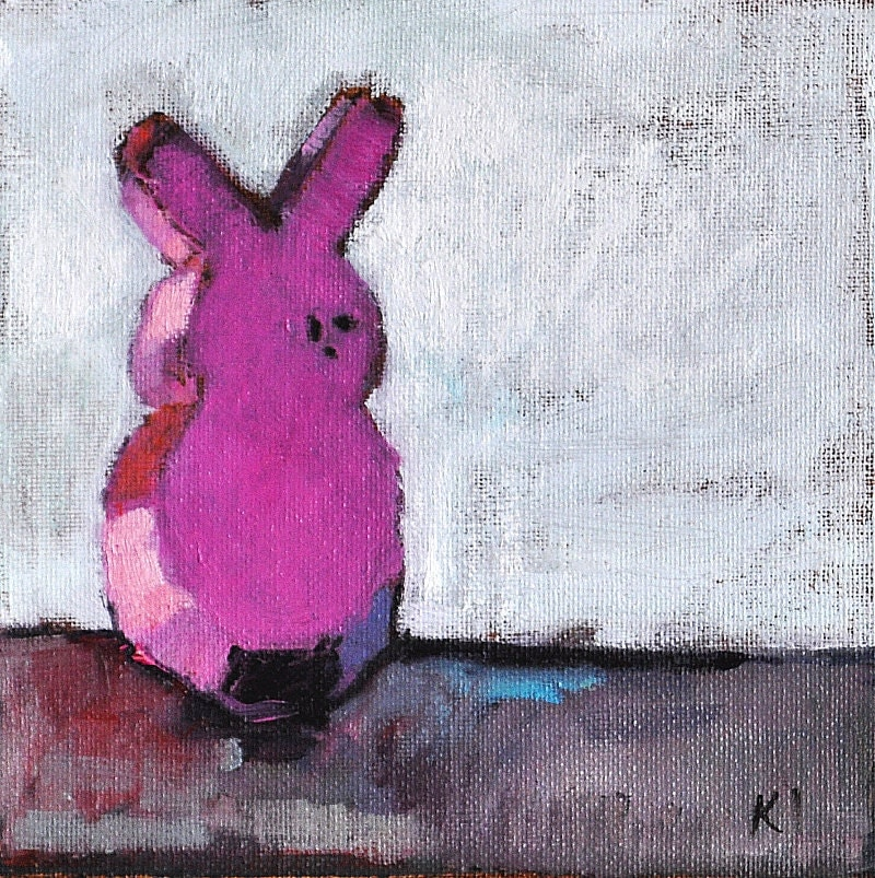 Pink Bunny Easter Peeps Still Life Painting