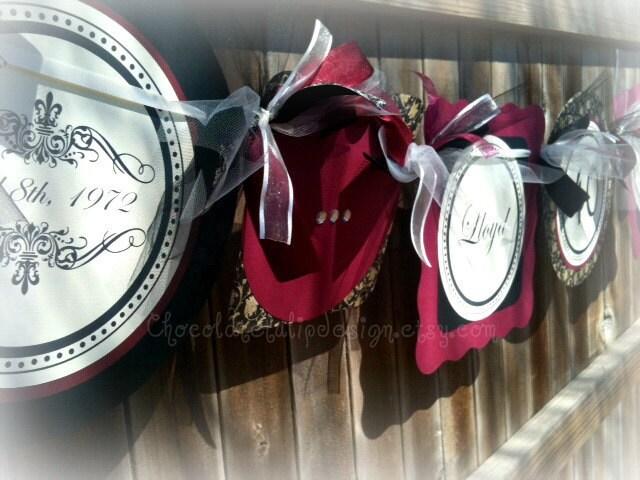 Homemade 40th Wedding Anniversary Gift Ideas : 40th Wedding Anniversary Banner Burgandy Black Ivory Handmade CUSTOM ...