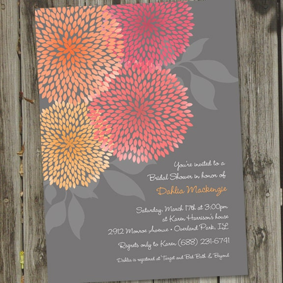 Beautiful Pink and Orange Dahlias Bridal Shower Invitation