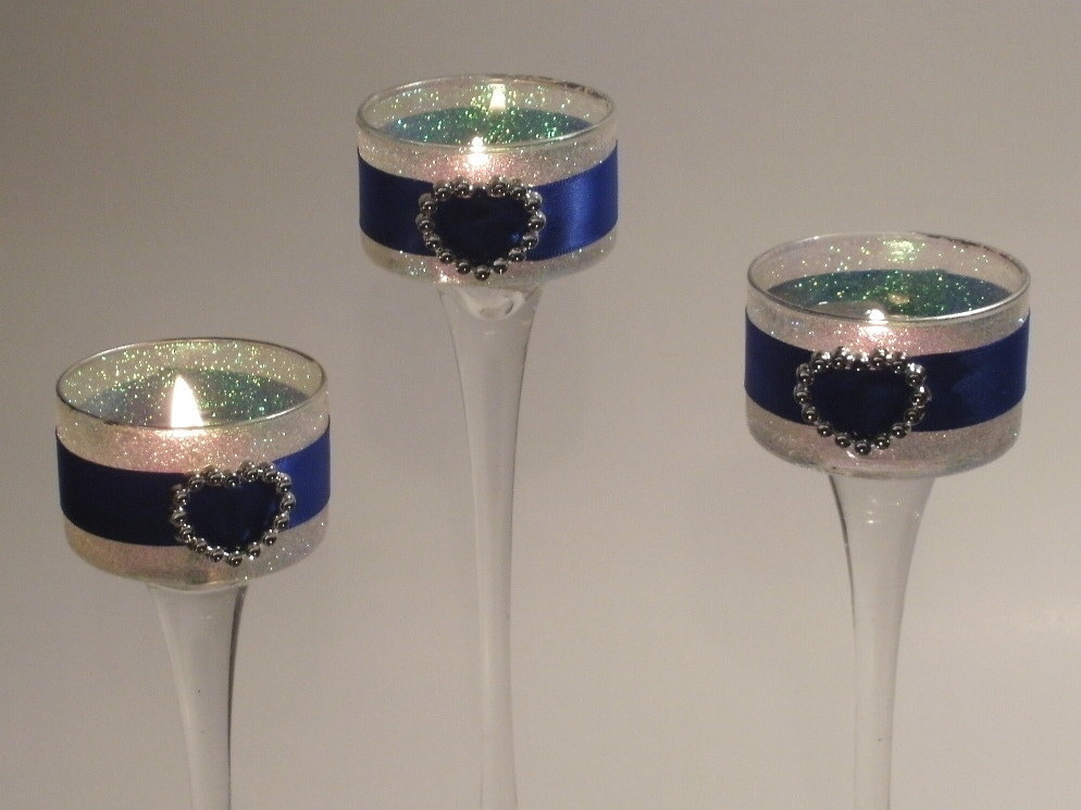 Wedding Centerpieces Iridescent Blue Elegant Gel 3 Piece by Silk N Lights