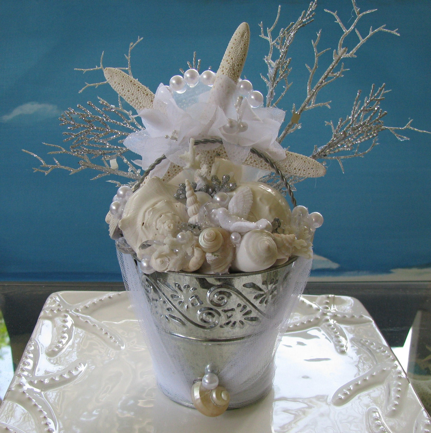 Beach Wedding Centerpieces Ideas: ~Seashell Wedding Cake Topper~Seashell Wedding Decor