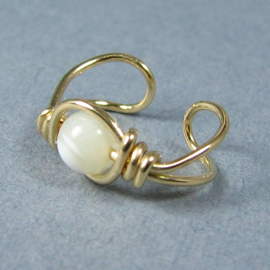 14k Gold Filled Ear Cuff Mother of Pearl Natural