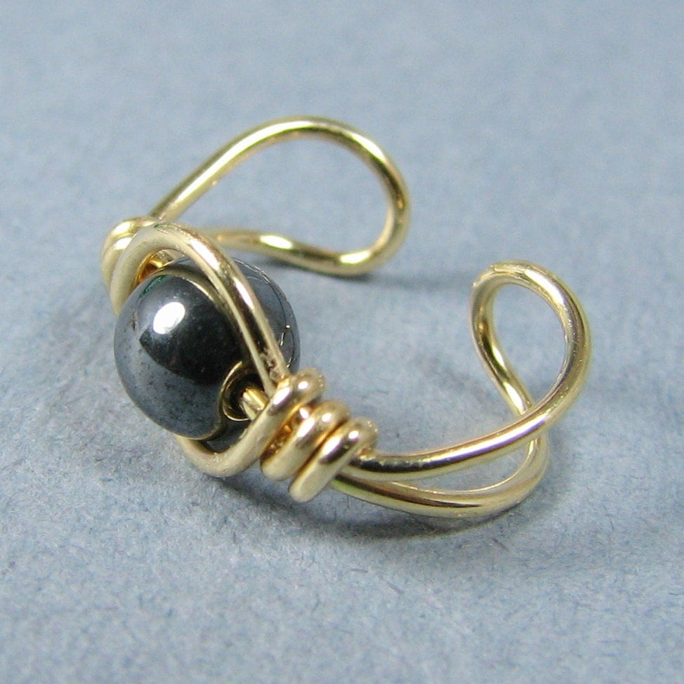 14k Gold Filled and Hematite Ear Cuff