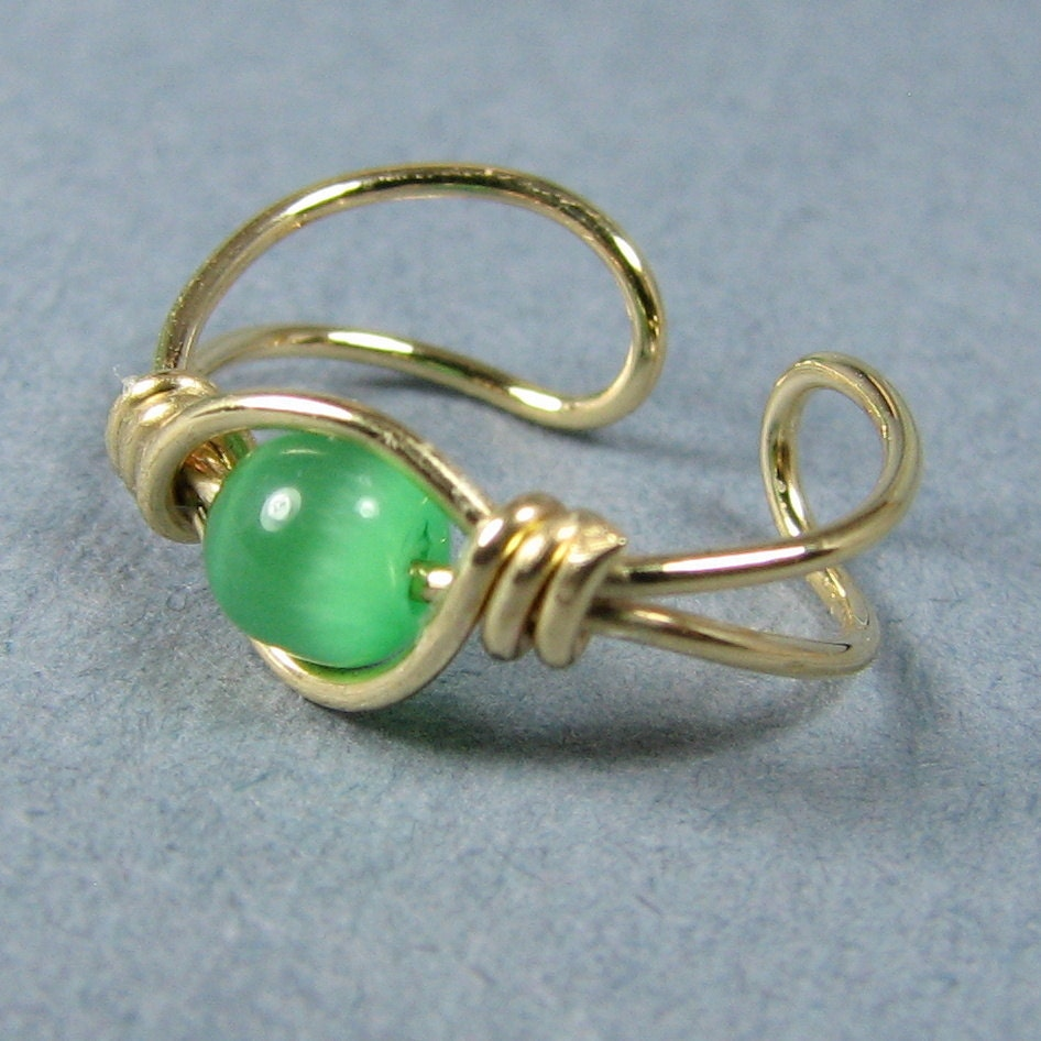 14k Gold Filled Ear Cuff and Spring Green Cats Eye