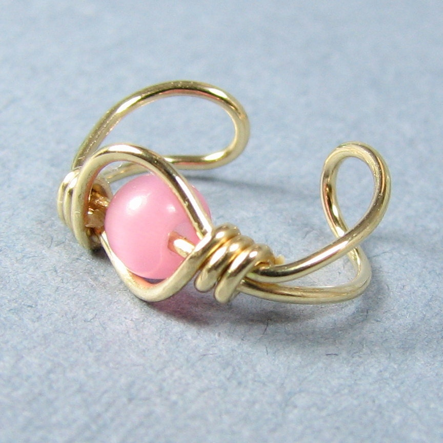 14k Gold Filled Ear Cuff Rose Pink Cats Eye
