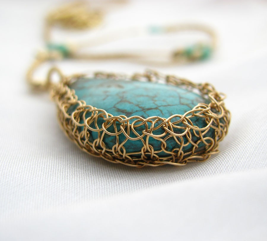 Crochet Wire Necklace 14K Gold filled Frame around Turquoise Drop stone