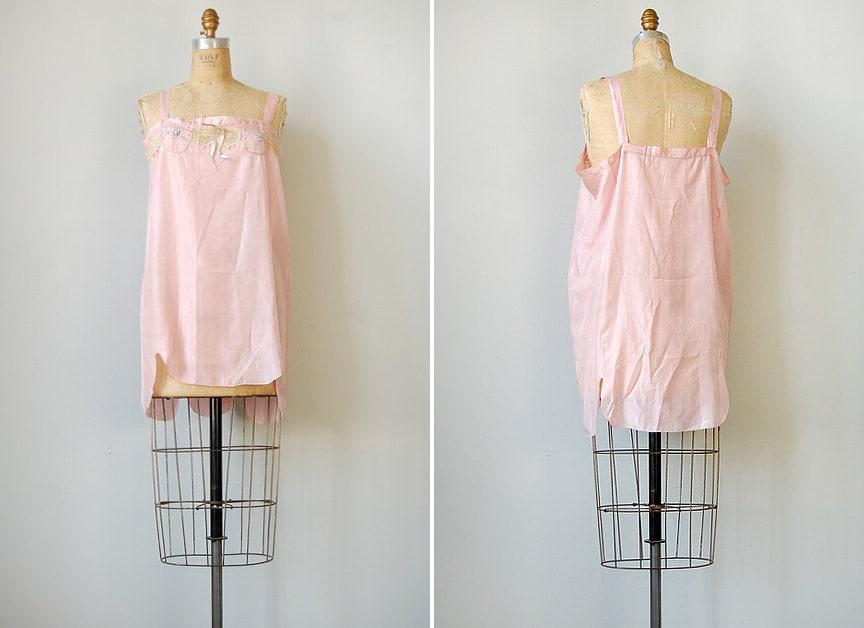 vintage 1920s lingerie / vintage 20s pink teddy / Kiss Me Till Dawn Slip
