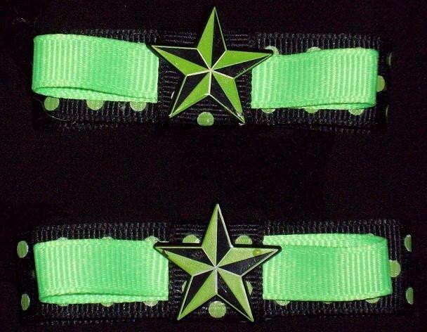 black and neon green hair. Neon green Nautical star punk