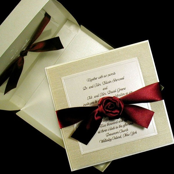 100 Boxed Couture Wedding Invitations Ivory Shantung Fabric Layer and