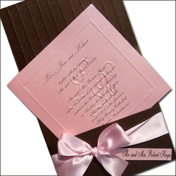 Fully Addressed Shimmering Pink and Chocolate Brown From JustEmbossed