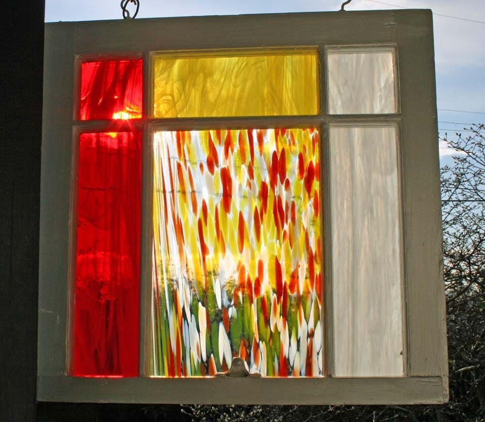 Repurposing old windows old house web blog for Glass decorations for windows