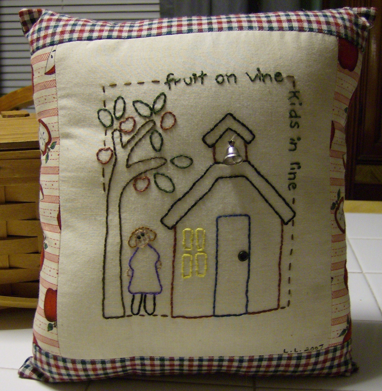 School House Stitchery Pillow