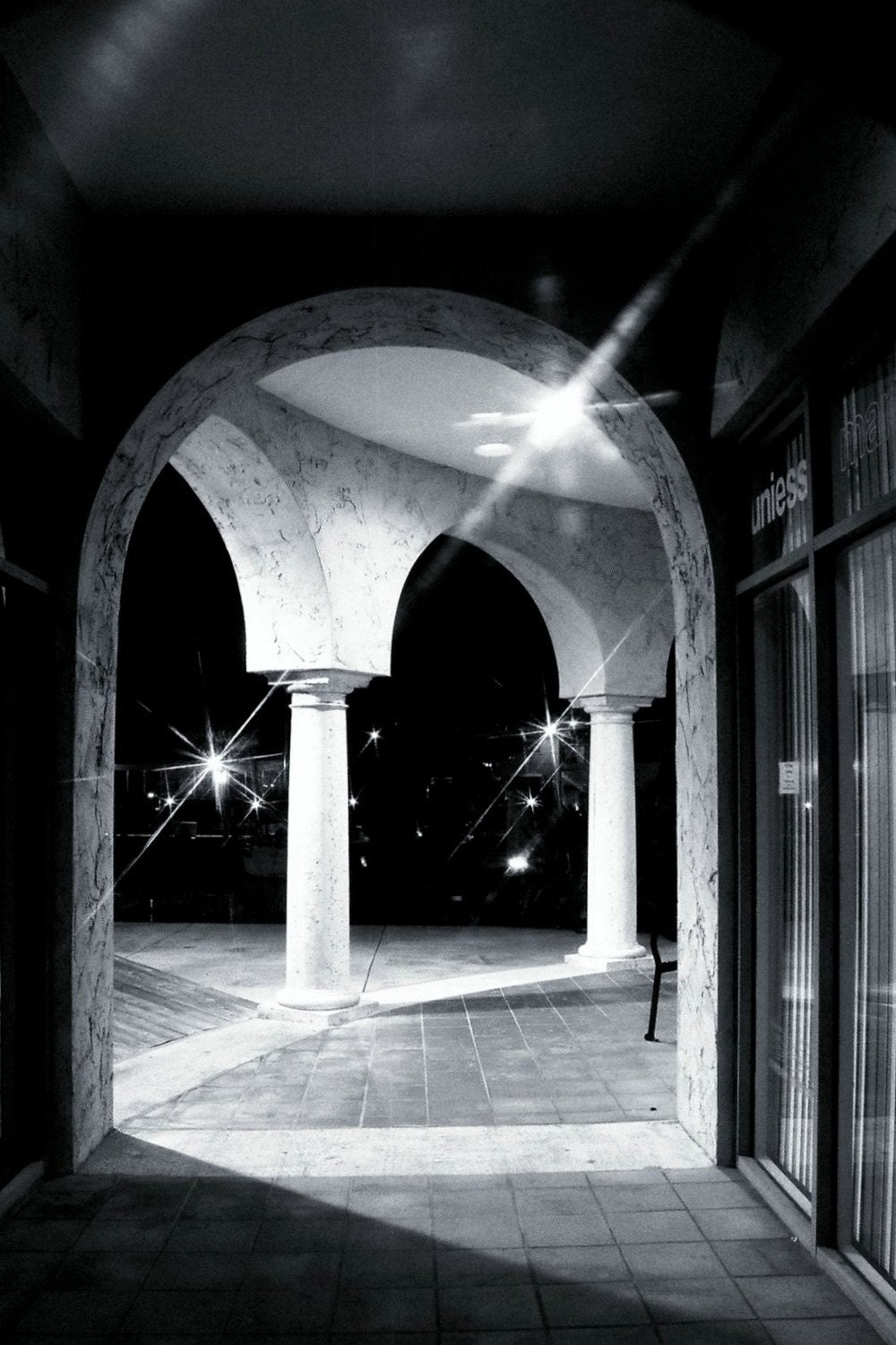 night time architectural columns